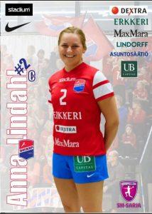 8 målsskytten Anna Lindahl , Dicken. Foto: nsm.finnhandball.net